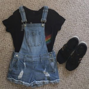 Blue Spice Distress Denim Overall Shorts